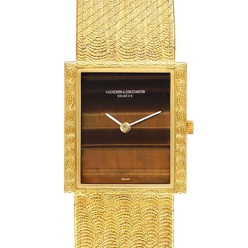 Photo of Vacheron Constantin 18k Yellow Gold Tiger Eye Stone Dial Vintage Watch 7255