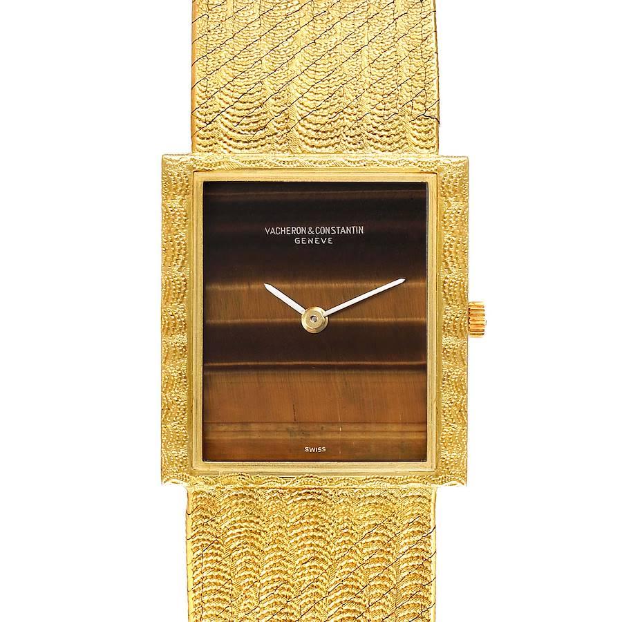Vacheron Constantin 18k Yellow Gold Tiger Eye Stone Dial Vintage Watch 7255 SwissWatchExpo
