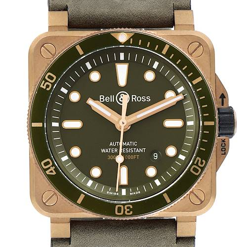 Photo of Bell & Ross Diver Green Dial Limited Edition Bronze Mens Watch BR0392