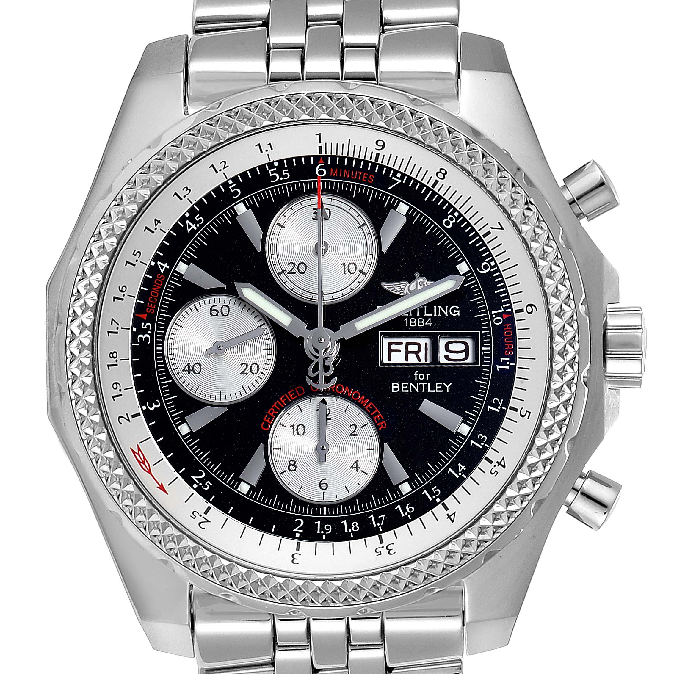 Photo of Breitling Bentley Motors GT Black Dial Steel Mens Watch A13362