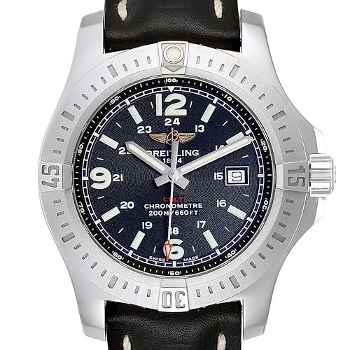 Photo of Breitling Colt Black Dial Leather Strap Steel Mens Watch A74388 Box Papers