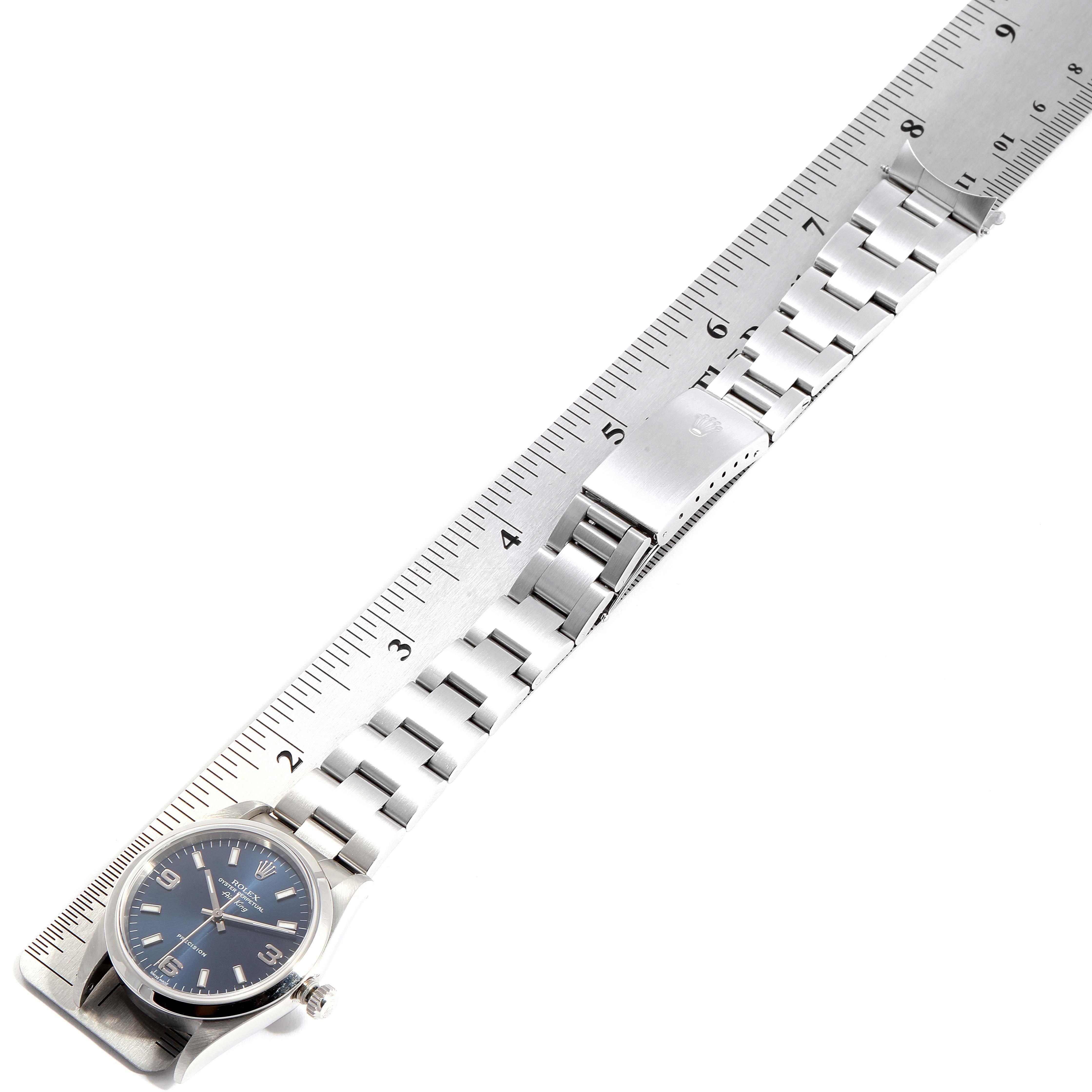 Rolex Air King 34 Blue Baton Dial Domed Bezel Steel Mens Watch 14000 SwissWatchExpo