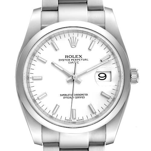 Photo of Rolex Date White Dial Oyster Bracelet Steel Mens Watch 115200 Unworn