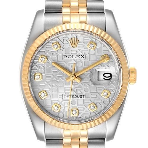Photo of Rolex Datejust Steel Yellow Gold Diamond Dial Mens Watch 116233 Box Card