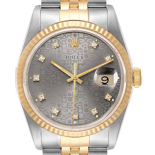 Photo of Rolex Datejust Steel Yellow Gold Jubilee Diamond Dial Watch 16233 Box Papers
