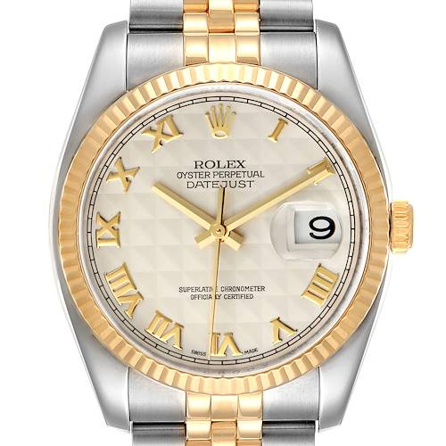 Photo of Rolex Datejust Steel Yellow Gold Pyramid Roman Dial Watch 116233 Box Papers
