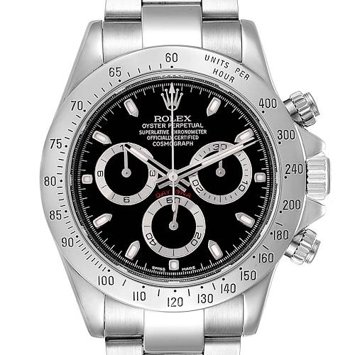 Photo of Rolex Daytona Black Dial Chronograph Steel Watch 116520 Box Card