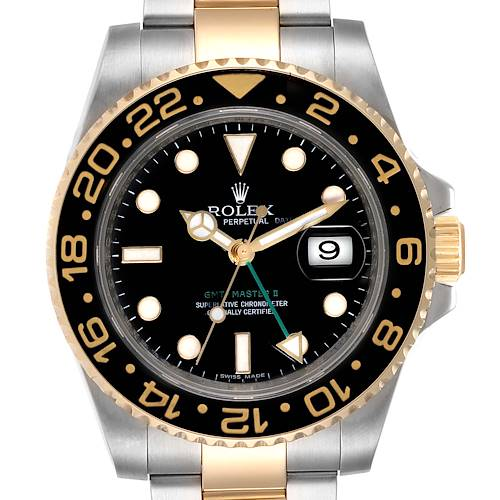 Photo of Rolex GMT Master II Yellow Gold Steel Automatic Mens Watch 116713