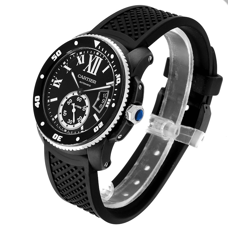 Cartier Calibre Diver Black ADLC Mens Watch WSCA0006 SwissWatchExpo