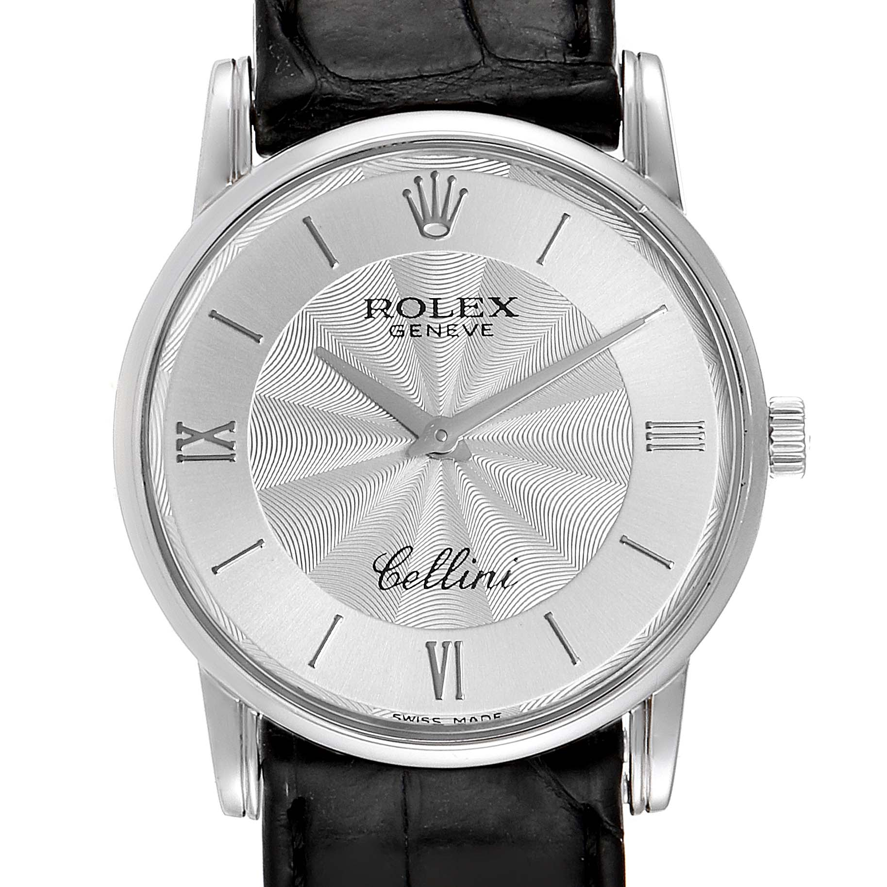 Photo of Rolex Cellini Classic White Gold Decorated Silver Dial Mens Watch 5116