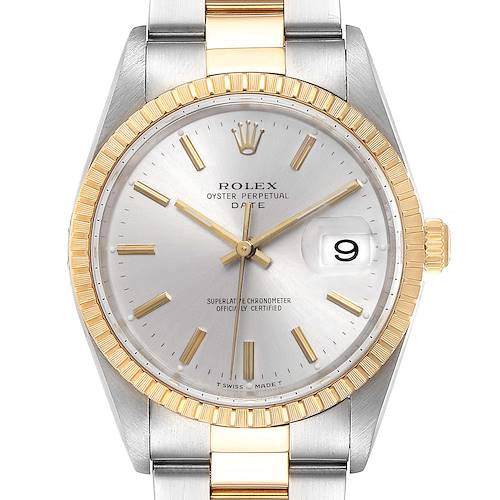 Photo of Rolex Date Mens Steel 18k Yellow Gold Silver Dial Mens Watch 15223