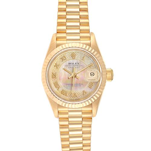 Photo of Rolex President Datejust Yellow Gold Decorated MOP Dial Ladies Watch 69178