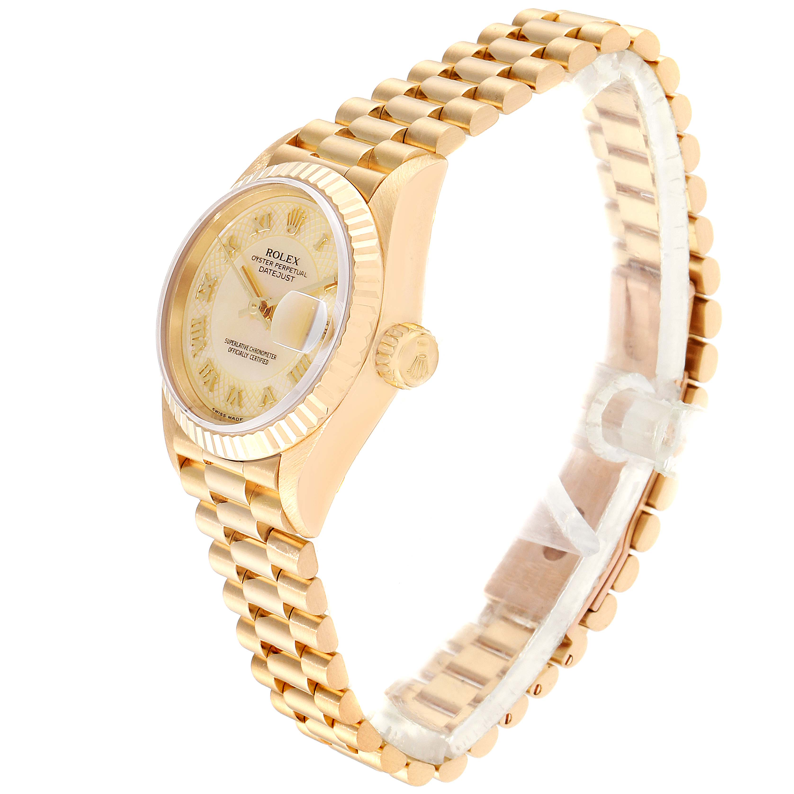 Rolex President Datejust Yellow Gold Decorated MOP Dial Ladies Watch 69178 SwissWatchExpo