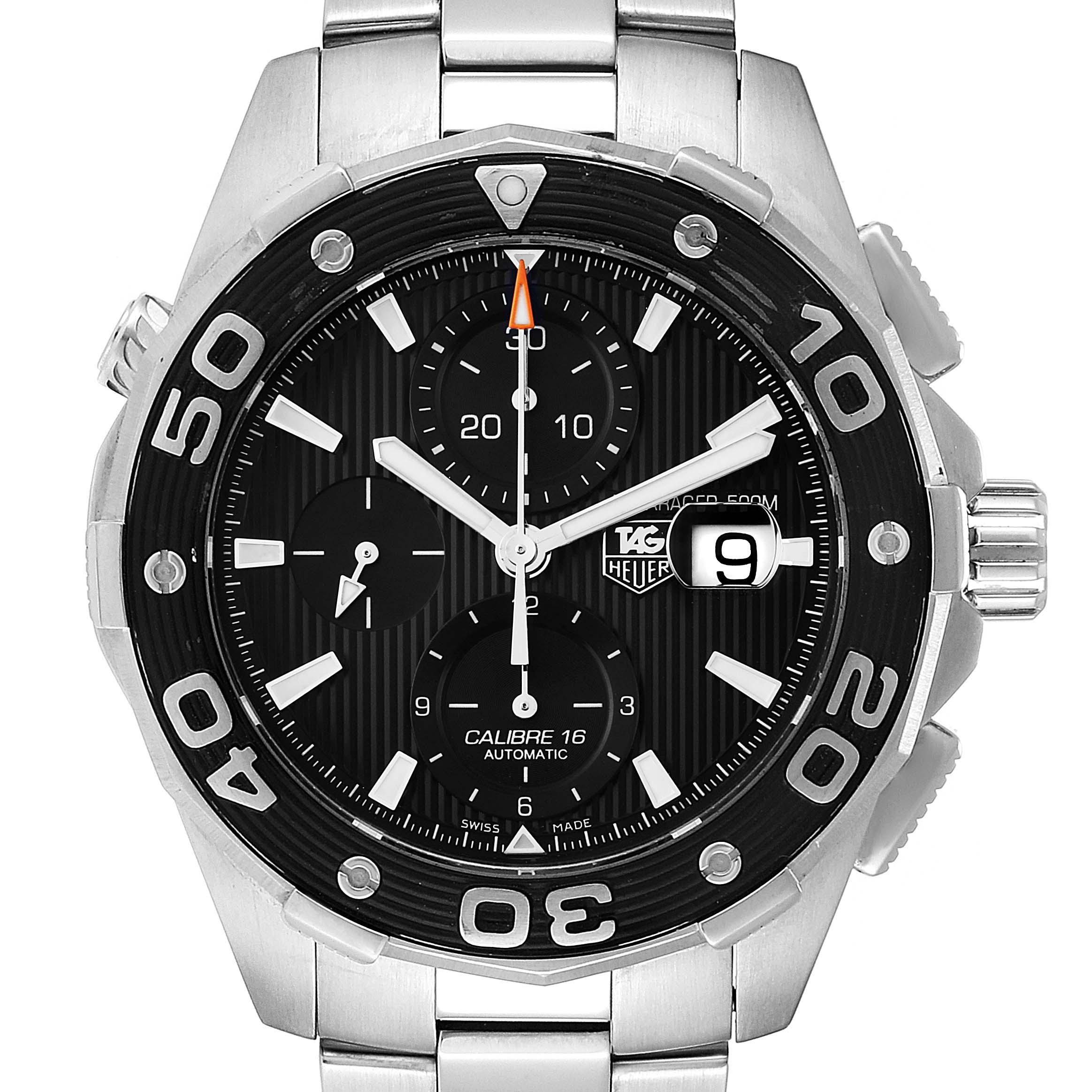 Photo of Tag Heuer Aquaracer Black Dial Stainless Steel Mens Watch CAJ2110