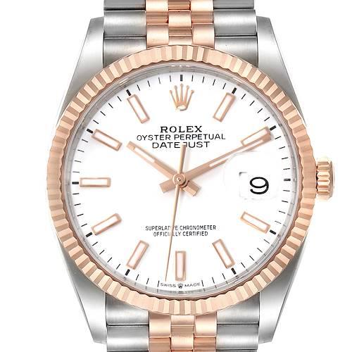 Photo of Rolex Datejust 36 Steel EveRose Gold White Dial Mens Watch 126231 Unworn