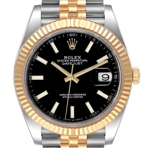 Photo of Rolex Datejust 41 Steel Yellow Gold Black Dial Mens Watch 126333 Unworn