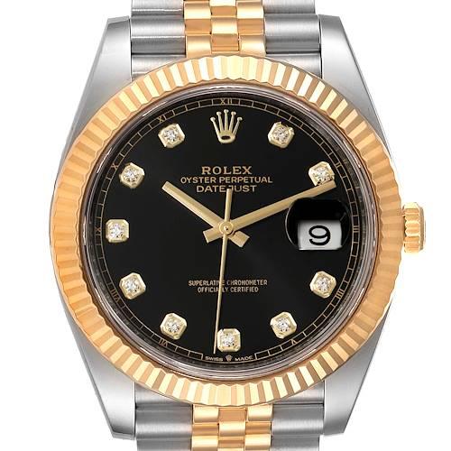 Photo of Rolex Datejust 41 Steel Yellow Gold Black Diamond Dial Watch 126333 Unworn