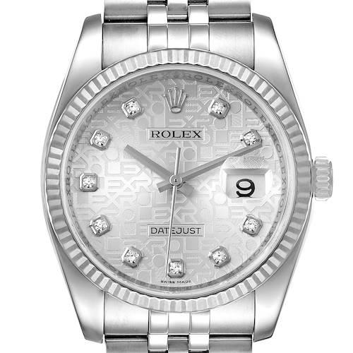 Photo of Rolex Datejust Steel White Gold Jubilee Diamond Dial Watch 116234 Box Card