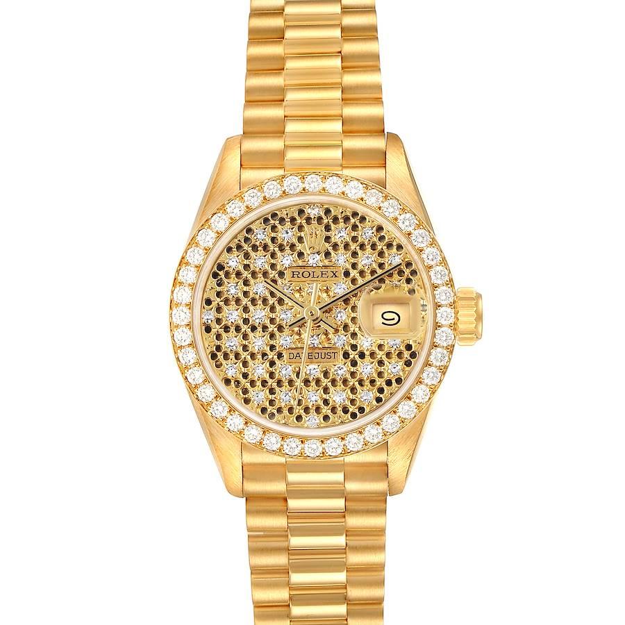 Rolex President Datejust Yellow Gold Honeycomb Diamond Watch 69138 Box Papers SwissWatchExpo