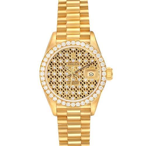 Photo of Rolex President Datejust Yellow Gold Honeycomb Diamond Watch 69138 Box Papers