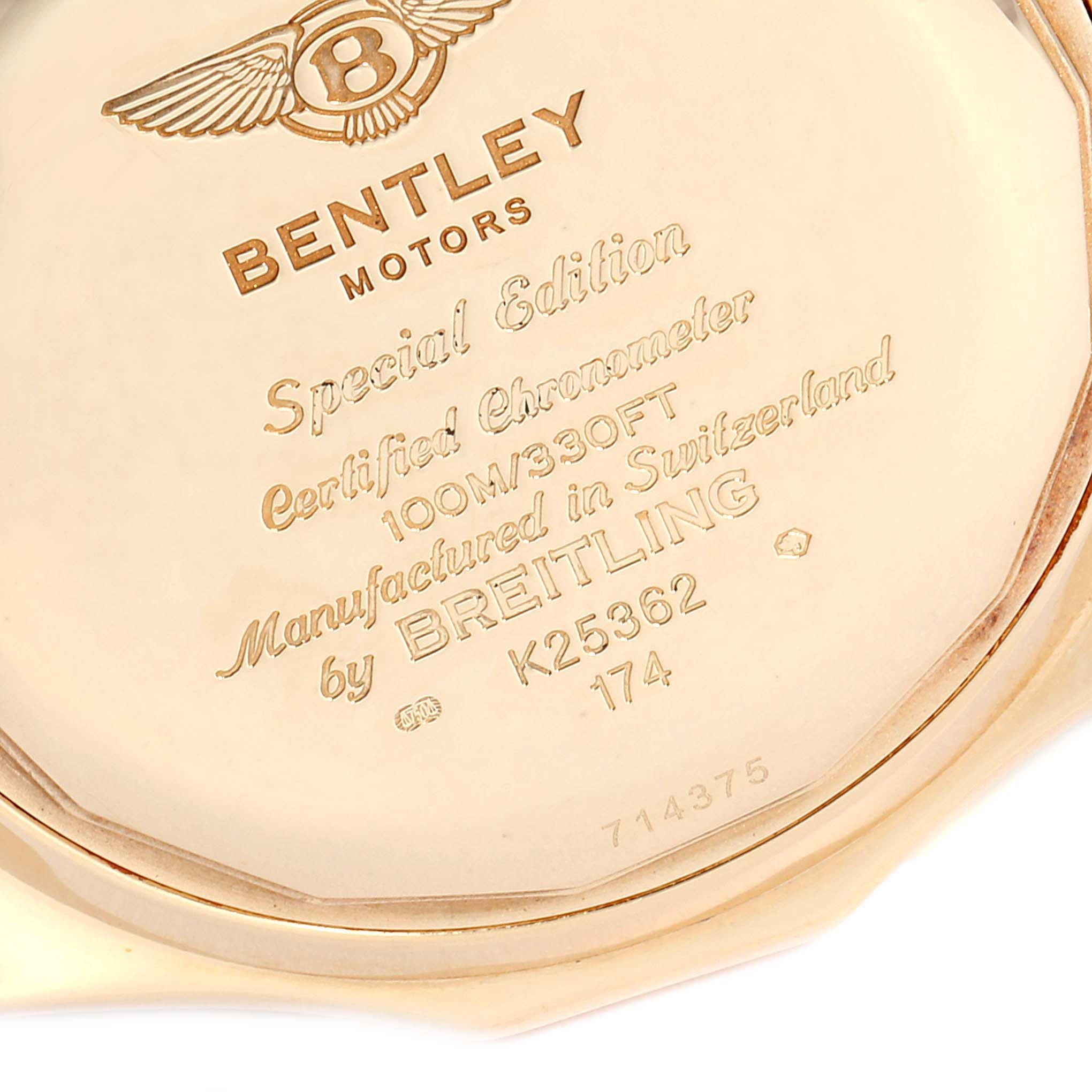 Breitling Bentley Yellow Gold Black Dial Chronograph Watch K25362 SwissWatchExpo