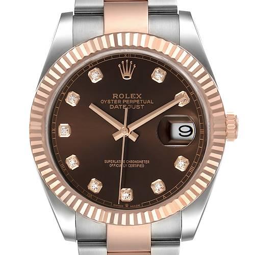 Photo of Rolex Datejust 41 Steel Everose Gold Chocolate Diamond Dial Watch 126331 Unworn