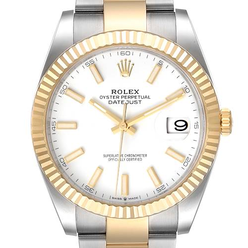 Photo of Rolex Datejust 41 Steel Yellow Gold White Dial Mens Watch 126333 Unworn