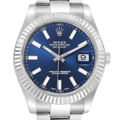 Photo of Rolex Datejust II 41mm Steel White Gold Blue Dial Mens Watch 116334