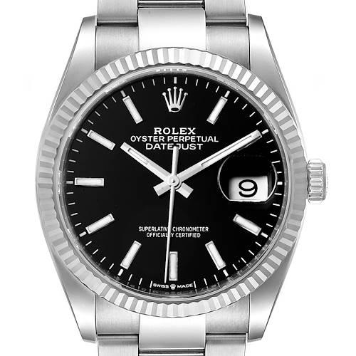 Photo of Rolex Datejust Steel White Gold Black Dial Mens Watch 126234 Unworn