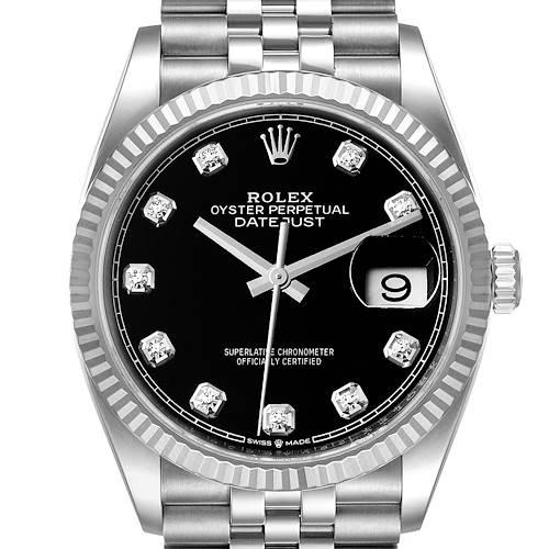 Photo of Rolex Datejust Steel White Gold Black Diamond Dial Mens Watch 126234 Unworn