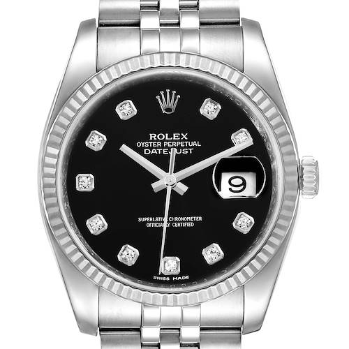 Photo of Rolex Datejust Steel White Gold Diamond Dial Mens Watch 116234 Box Card