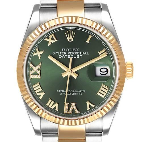 Photo of Rolex Datejust Steel Yellow Gold Green Diamond Dial Watch 126233 Unworn