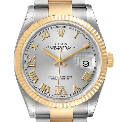 Photo of Rolex Datejust Steel Yellow Gold Silver Diamond Dial Mens Watch 126233 Unworn