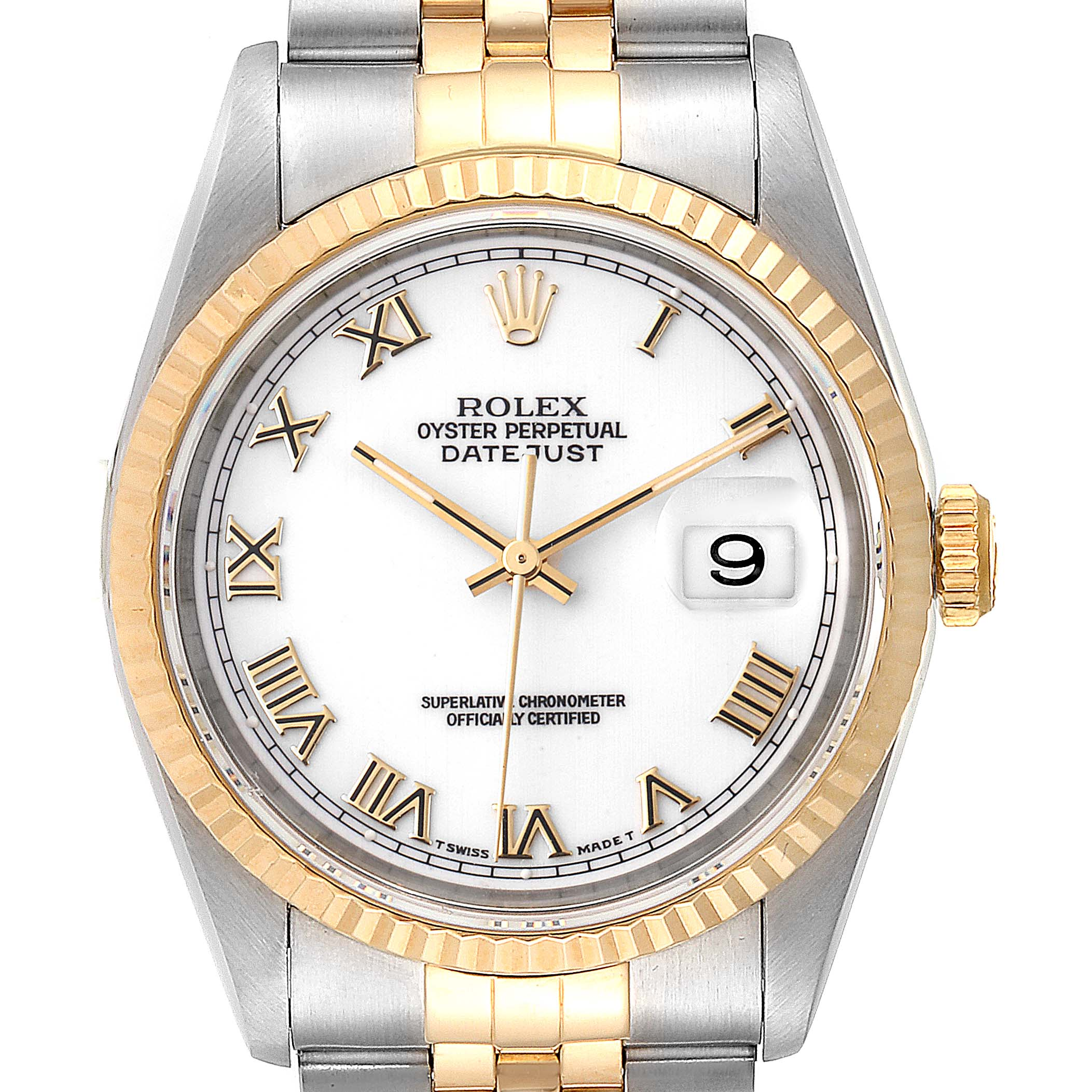 Rolex Datejust Steel Yellow Gold White Roman Dial Mens Watch 16233 SwissWatchExpo