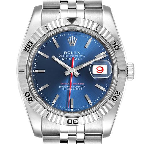 Photo of Rolex Datejust Turnograph Blue Dial Oyster Bracelet Mens Watch 116264