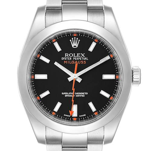 Photo of Rolex Milgauss Black Dial Domed Bezel Steel Mens Watch 116400 box Card