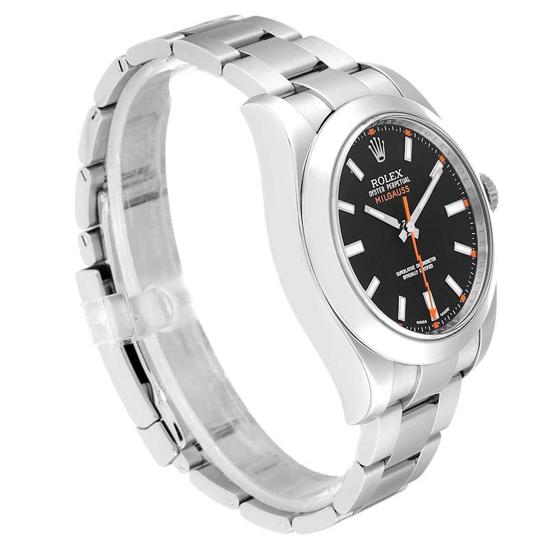 Rolex Milgauss Black Dial Domed Bezel Steel Mens Watch 116400 box Card SwissWatchExpo