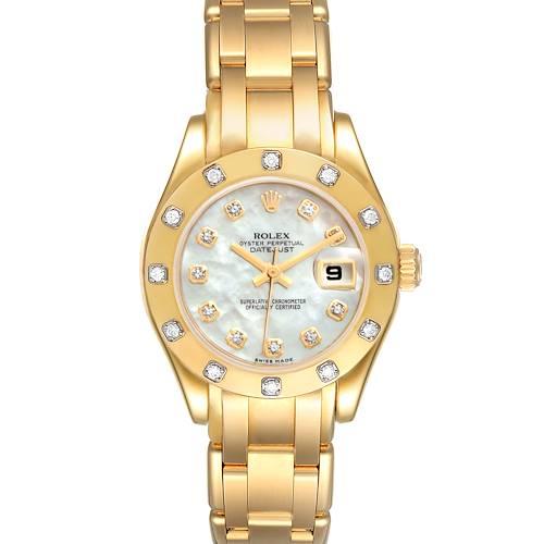 Photo of Rolex Pearlmaster 18K Yellow Gold MOP Diamond Ladies Watch 80318 Box Card