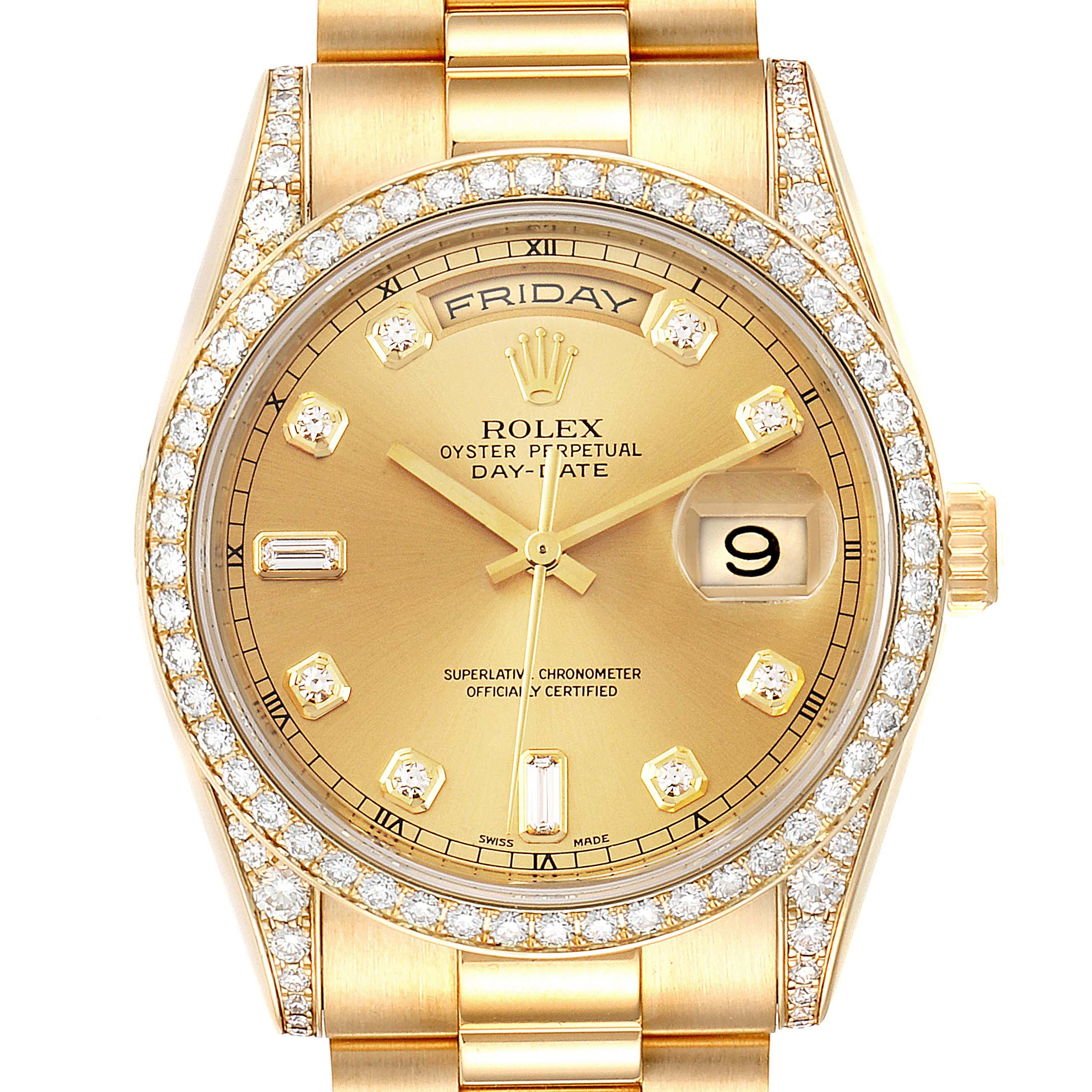 Rolex President Day-Date 36 Yellow Gold Diamond Mens Watch 118388
