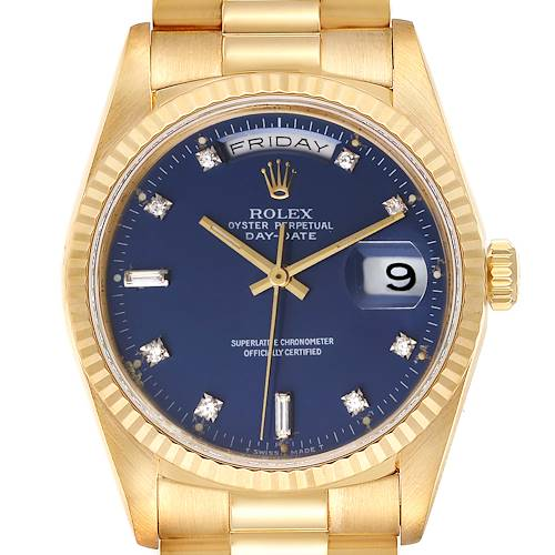 Photo of Rolex President Day-Date 36mm Yellow Gold Blue Diamond Dial Watch 18238