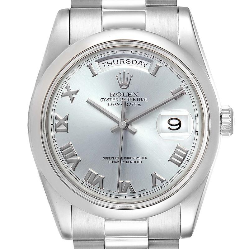 Rolex President Day-Date Platinum Glacier Blue Roman Mens Watch 118206 SwissWatchExpo