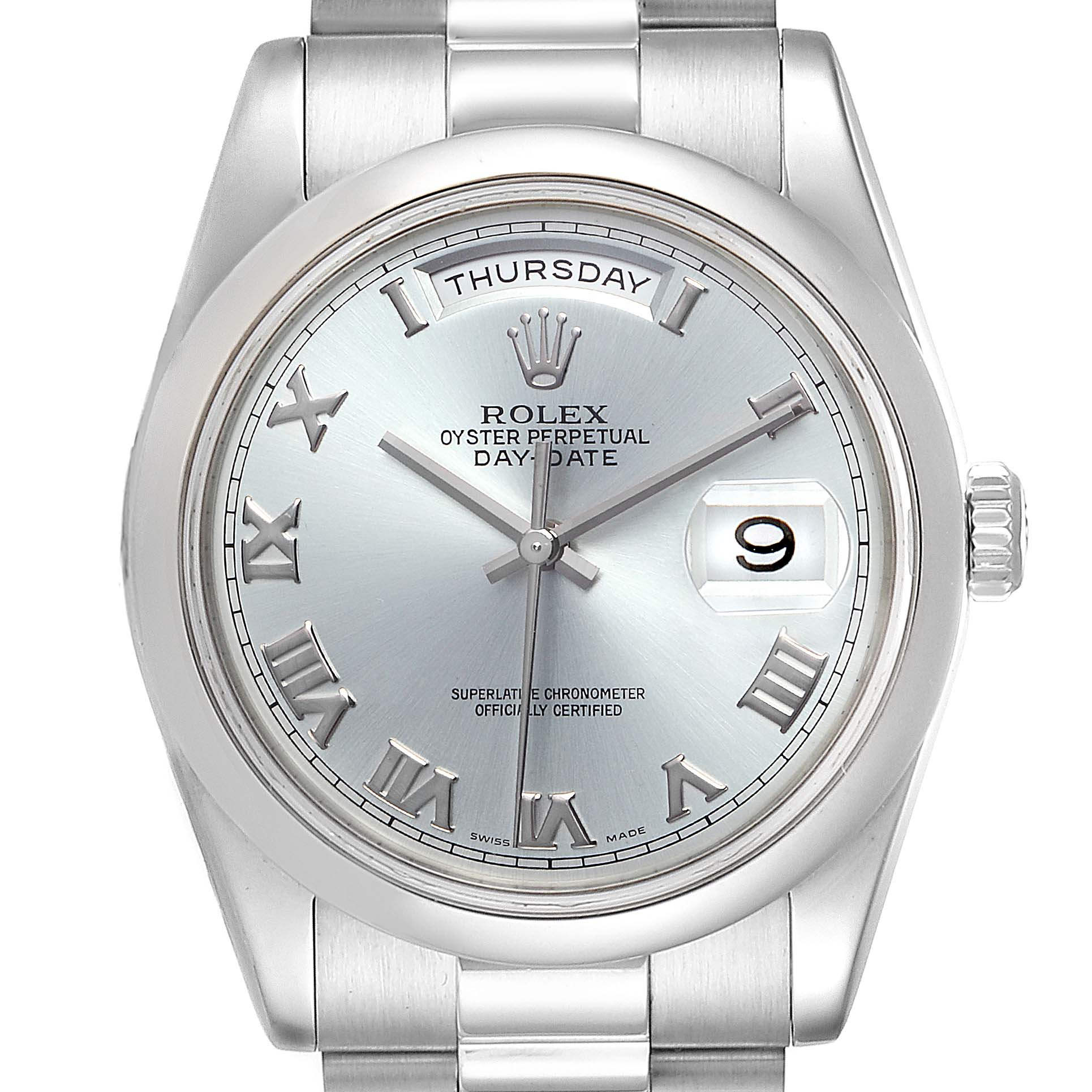 Rolex President Day-Date Platinum Glacier Blue Roman Mens Watch 118206