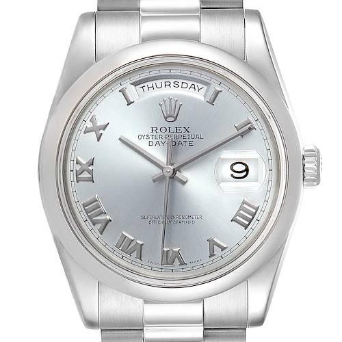 Photo of Rolex President Day-Date Platinum Glacier Blue Roman Mens Watch 118206
