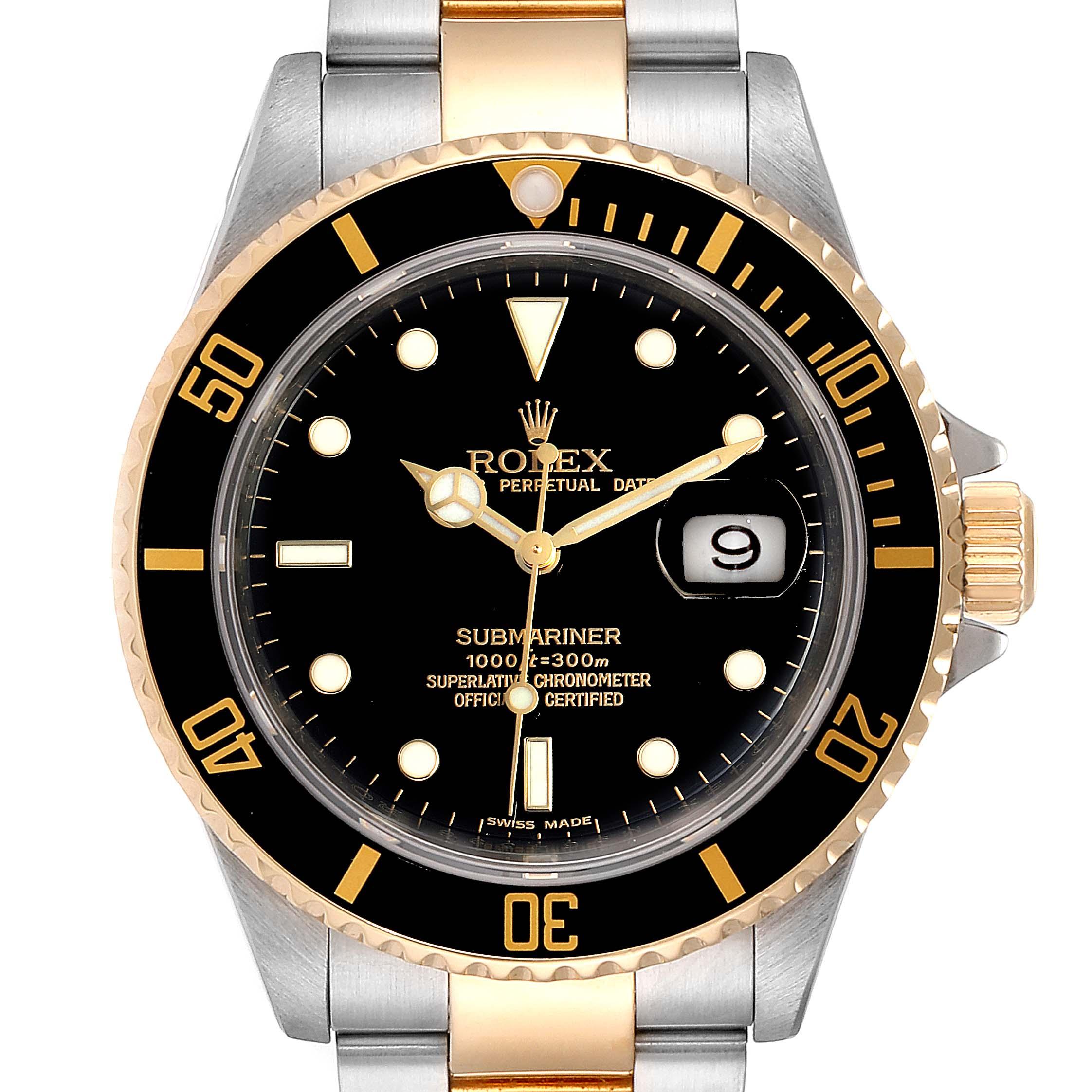 Rolex Submariner Black Dial Bezel Steel Yellow Gold Mens Watch 16613