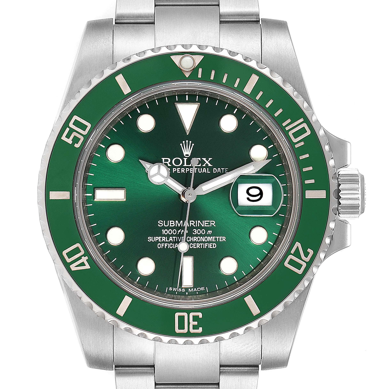 Rolex Submariner Hulk Green Dial Bezel Steel Steel Mens Watch 116610LV