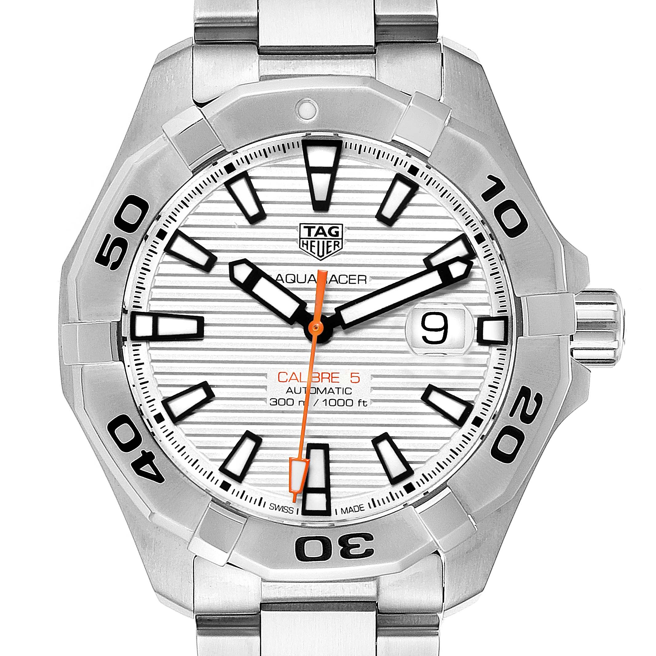 Photo of Tag Heuer Aquaracer White Dial Steel Mens Watch WAY2013 Unworn