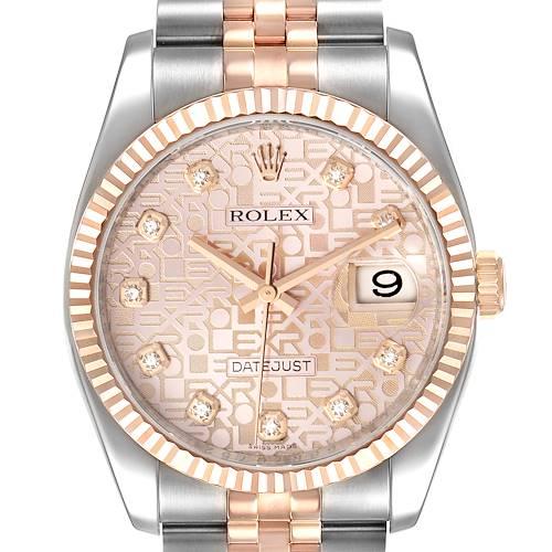 Photo of Rolex Datejust 36mm Dial Steel Rose Gold Diamond Unisex Watch 116231 Box Card
