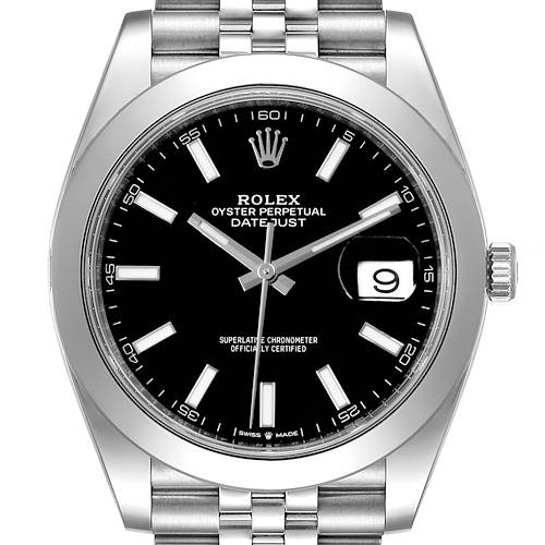 Photo of Rolex Datejust 41 Black Dial Smooth Bezel Steel Mens Watch 126300 Unworn