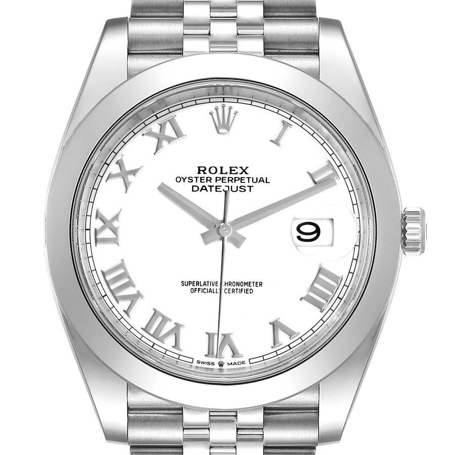 Rolex Datejust 41 White Dial Stainless Steel Mens Watch 126300 Unworn SwissWatchExpo