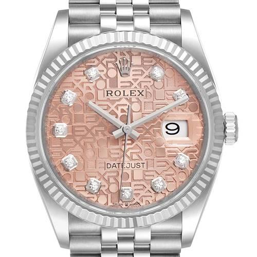 Photo of Rolex Datejust Steel White Gold Pink Dial Diamond Watch 126234 Unworn